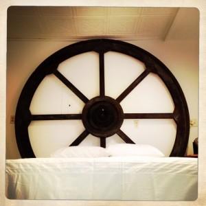 giant wheel scenery becomes headboard!