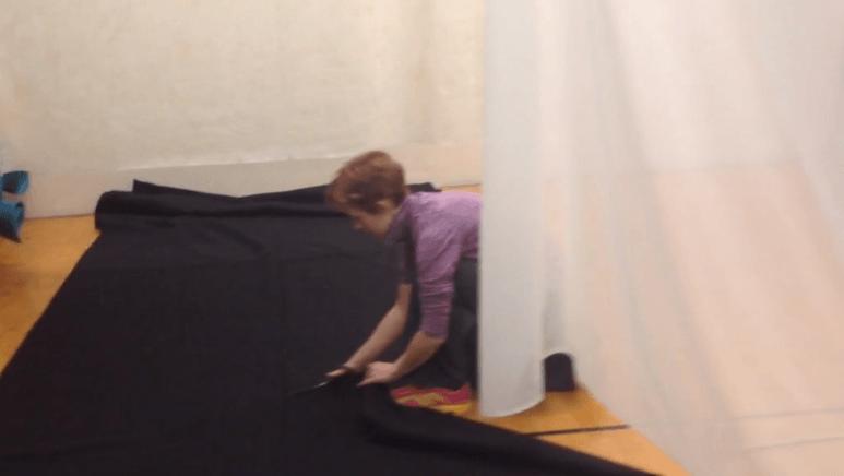 Invasion installation Jillian cutting fabric