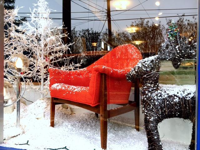 "Modern Mobler's ""Green"" Winter Wonderland Window Display"