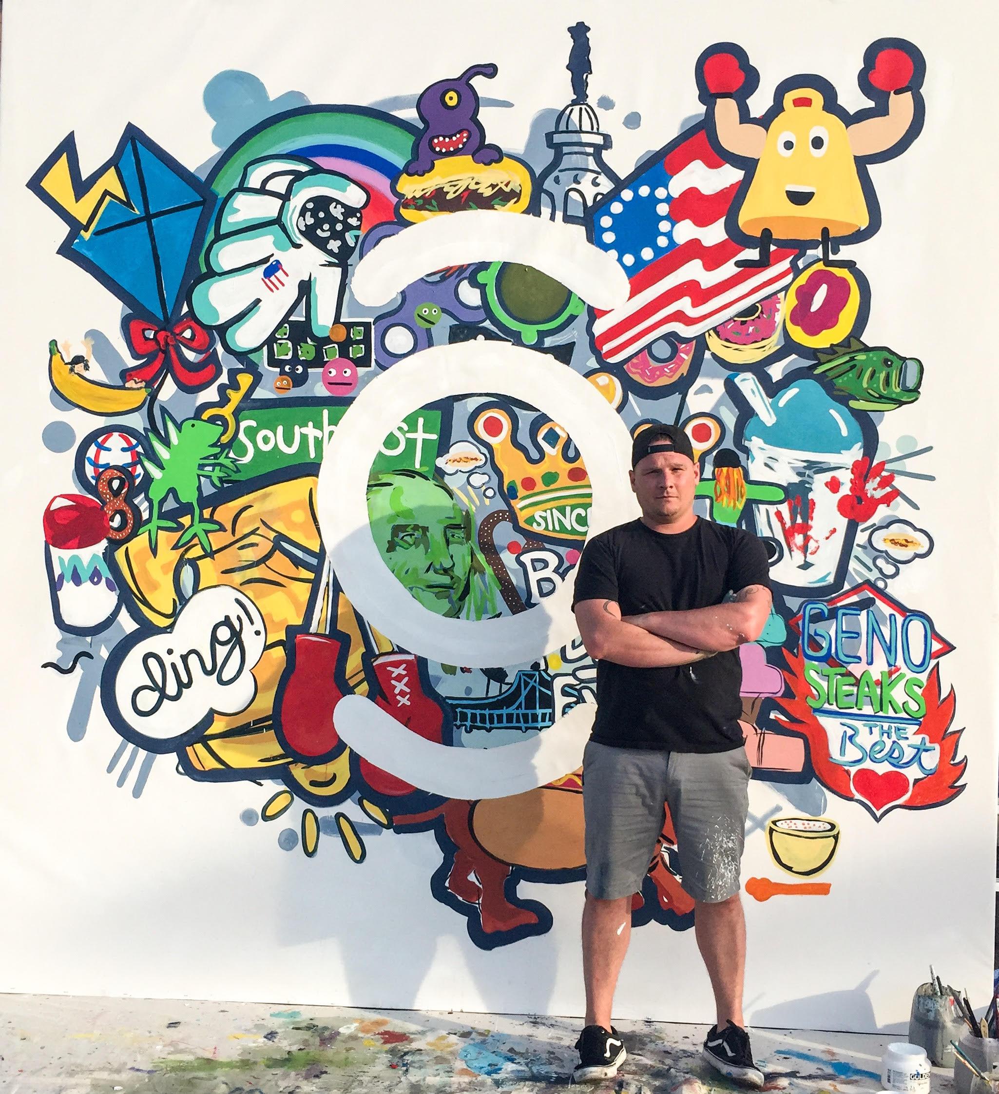 Local Artist Benjamin Howard's Murals Using Reclaimed Paint