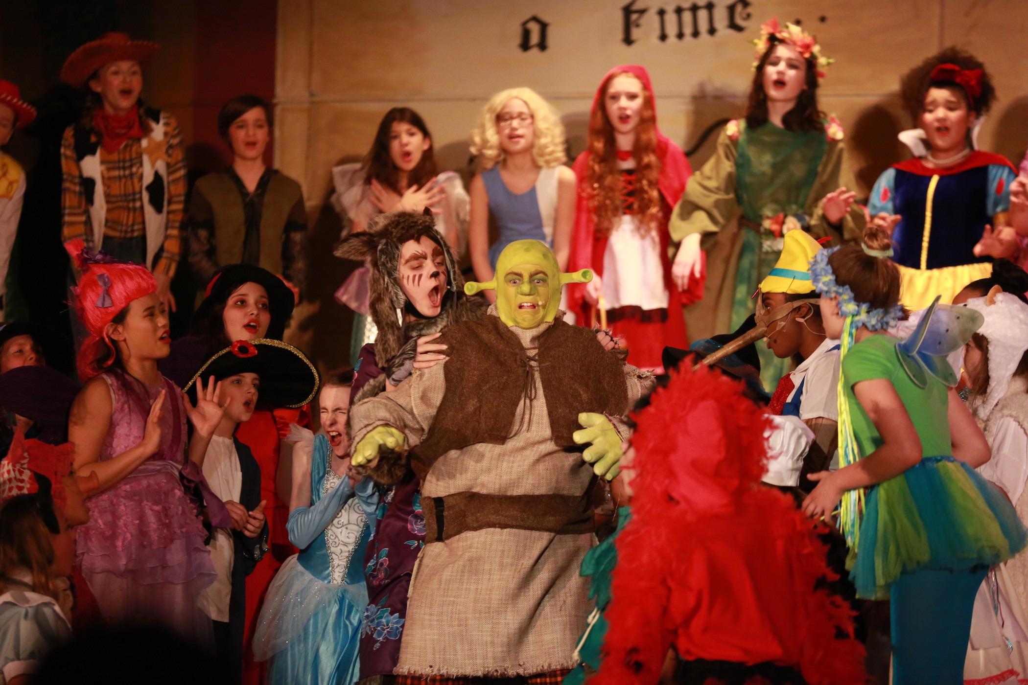 Reclaimed costumes in Shrek Musical at J.R. Masterman School!