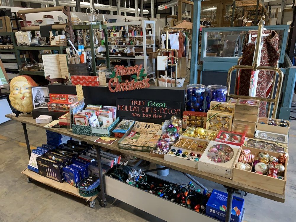 store display of reclaimed holiday decor and crafts
