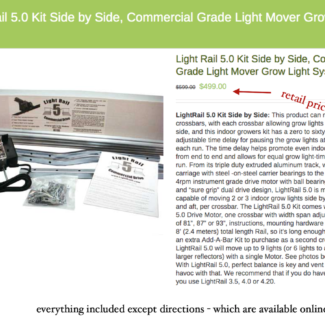 Light Rail 5.0 Kit, Commercial Grade Grow Light System