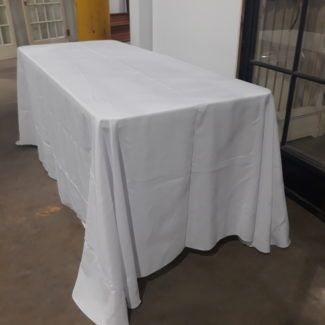 White Polyester Tablecloths, 90″ x 132″
